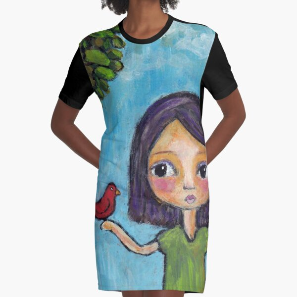 Girl and a Red Bird Graphic T-Shirt Dress