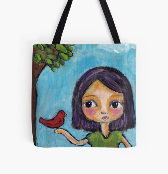 Girl and a Red Bird All Over Print Tote Bag