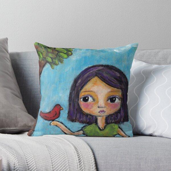 Girl and a Red Bird Throw Pillow