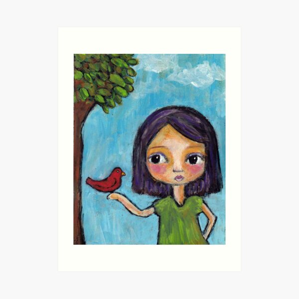 Girl and a Red Bird Art Print