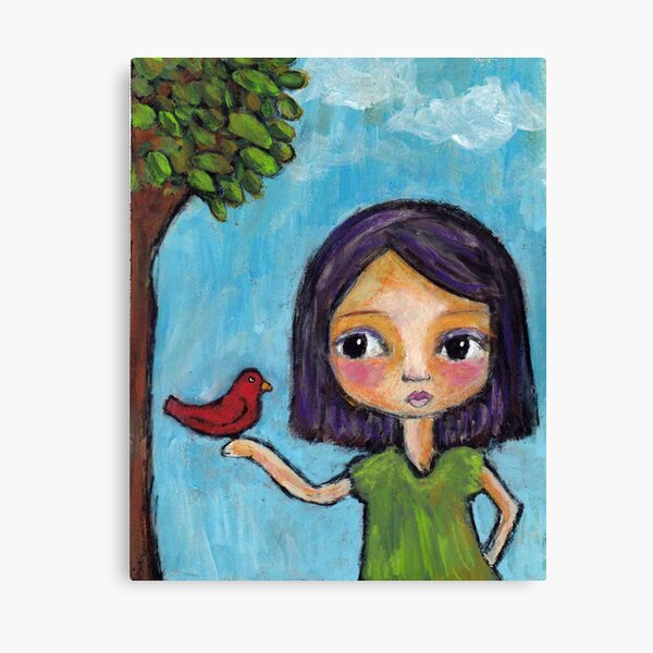 Girl and a Red Bird Canvas Print