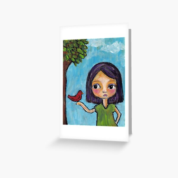 Girl and a Red Bird Greeting Card