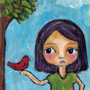 Girl and a Red Bird by peaceofpistudio