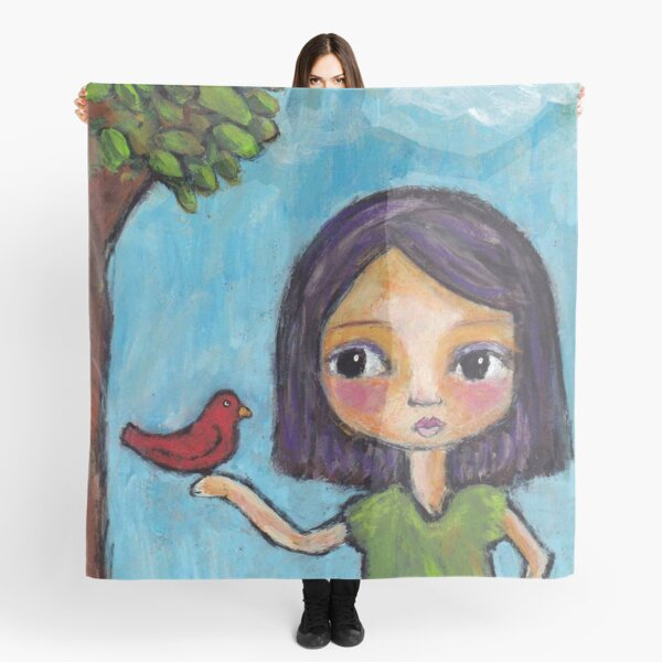 Girl and a Red Bird Scarf