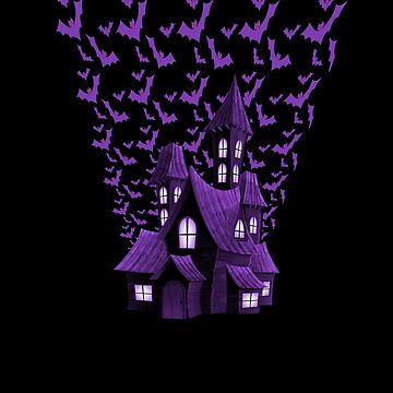 Purple Halloween Haunted House Bat Flyover by Creepyhollow