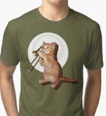 Trombone Cat Tri-blend T-Shirt