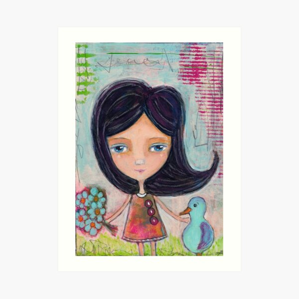 Girl and a Bluebird Painting Art Print