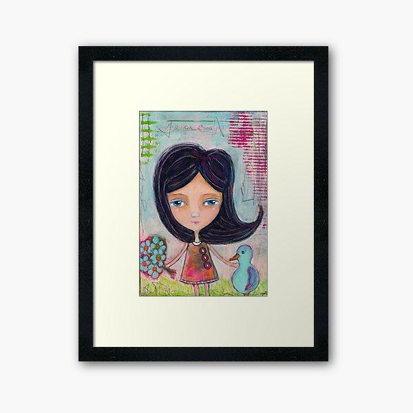 Girl and a Bluebird Painting Framed Art Print