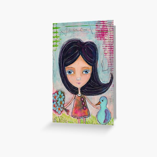 Girl and a Bluebird Painting Greeting Card
