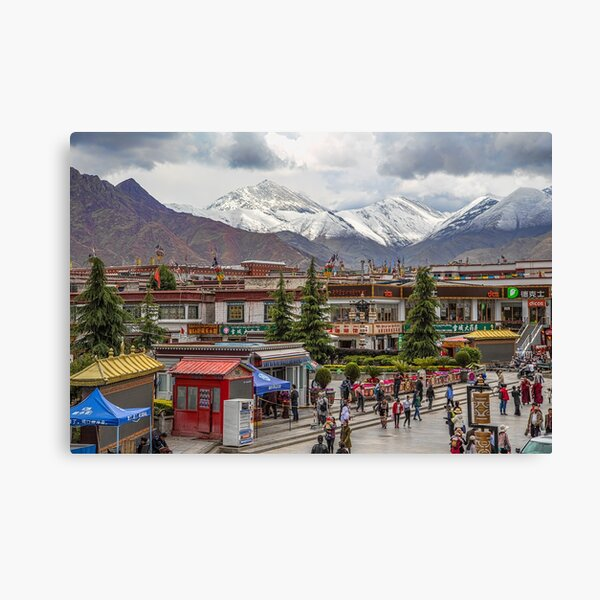 Tibet. Lhasa. Square with the Mountains in the background. Canvas Print