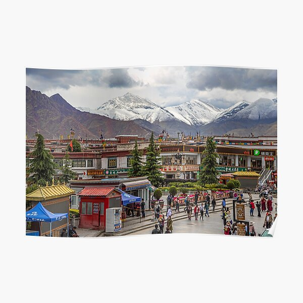 Tibet. Lhasa. Square with the Mountains in the background. Poster