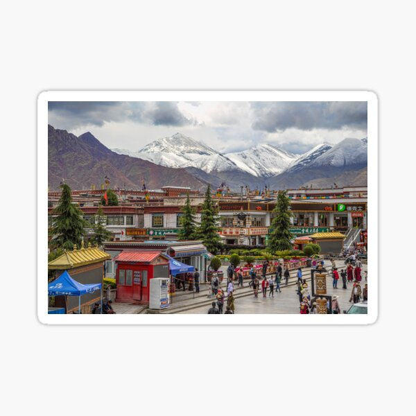 Tibet. Lhasa. Square with the Mountains in the background. Sticker