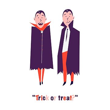 Happy set with two vampire cartoon men. Count Dracula wearing black and red cape. Cute character with fangs. Two flying bat boy ore man on Halloween. Flat design. White background. Vector illustration by Julli