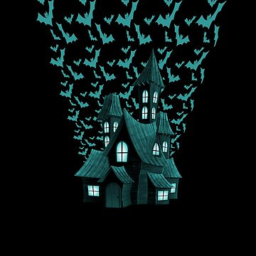 Wrath Blue Halloween Haunted House Bat Flyover by Creepyhollow