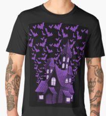 Purple Halloween Haunted House Bat Flyover Men's Premium T-Shirt
