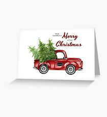 retro Red Christmas Truck with Trees Greeting Card