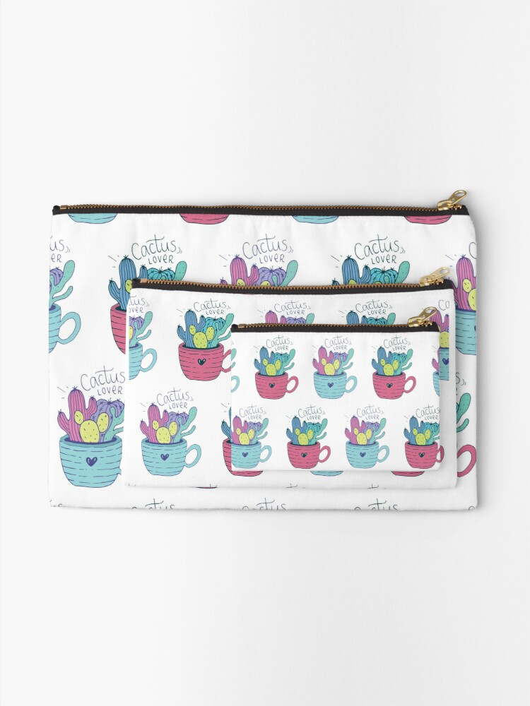 Alternate view of Colorful Cactus Pattern Zipper Pouch