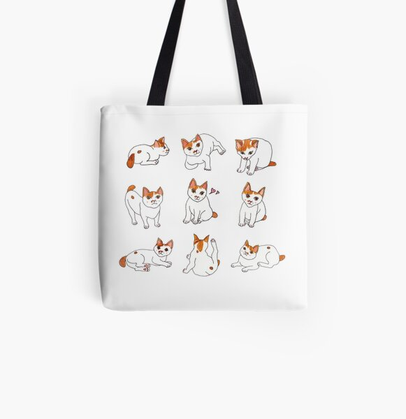Nine Cats All Over Print Tote Bag