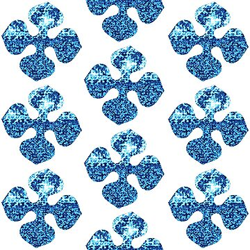 Glacier Bright Brilliant Blue Winter Flower Abstract 2 by Saburkitty