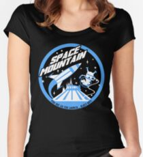 SPACE MOUNTAIN (black and blue) Women's Fitted Scoop T-Shirt