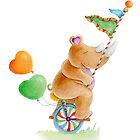 Rhino on a unicycle circus whimsical watercolor art by Sarah Trett