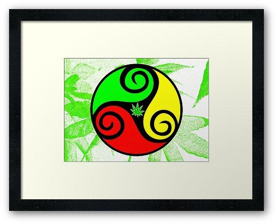 Reggae Love Vibes - Cannabis Reggae Flag by Denis Marsili
