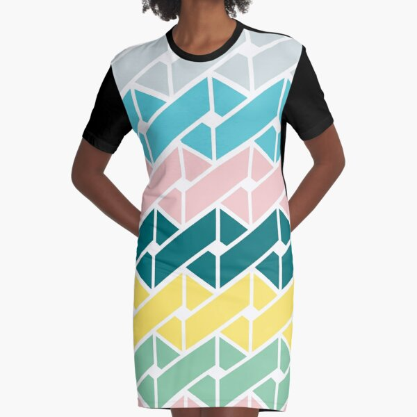 Geometric Link Pattern Teal Pink Turquoise Green Yellow Graphic T-Shirt Dress