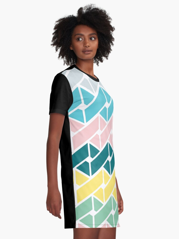 Alternate view of Geometric Link Pattern Teal Pink Turquoise Green Yellow Graphic T-Shirt Dress