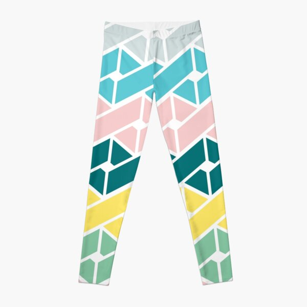 Geometric Link Pattern Teal Pink Turquoise Green Yellow Leggings