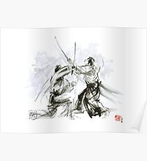 Mens gift ideas, aikido martial arts, ink drawing large poster Poster