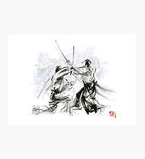 Mens gift ideas, aikido martial arts, ink drawing large poster Photographic Print