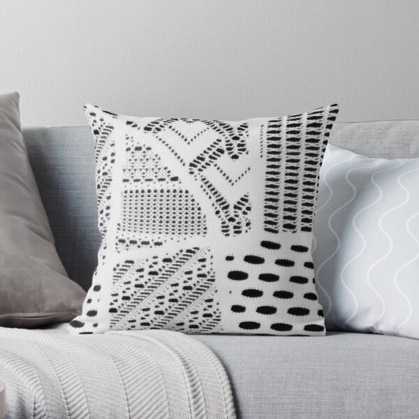 white lace pattern geometric shapes designs fashionable textile, back to school Throw Pillow