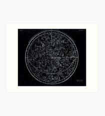 Constellations of the Northern Hemisphere | Pale Blue On Black Art Print
