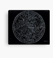 Constellations of the Northern Hemisphere | Pale Blue On Black Canvas Print