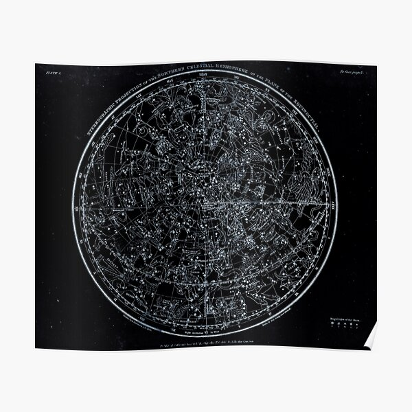Constellations of the Northern Hemisphere | Pale Blue On Black Poster