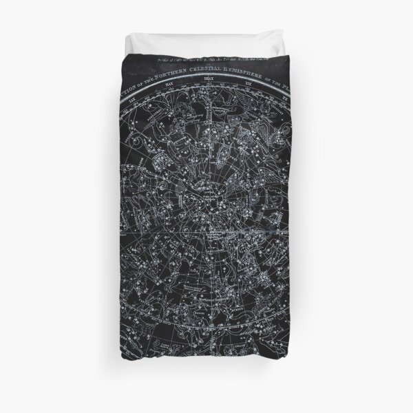 Constellations of the Northern Hemisphere | Pale Blue On Black Duvet Cover