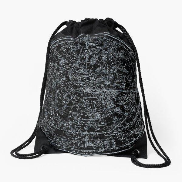Constellations of the Northern Hemisphere   Pale Blue On Black Drawstring Bag