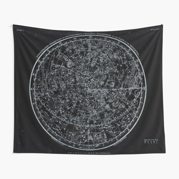 Constellations of the Northern Hemisphere | Pale Blue On Black Tapestry