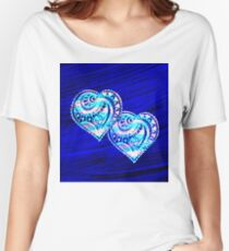 Two Hearts on Blue Women's Relaxed Fit T-Shirt