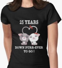 Hottest Gifts For 25 Years Wedding Anniversary. Cute T-shirt For Couples At Party Women's Fitted T-Shirt