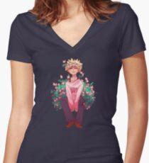 Camiseta entallada de cuello en V Bakugou en rosa