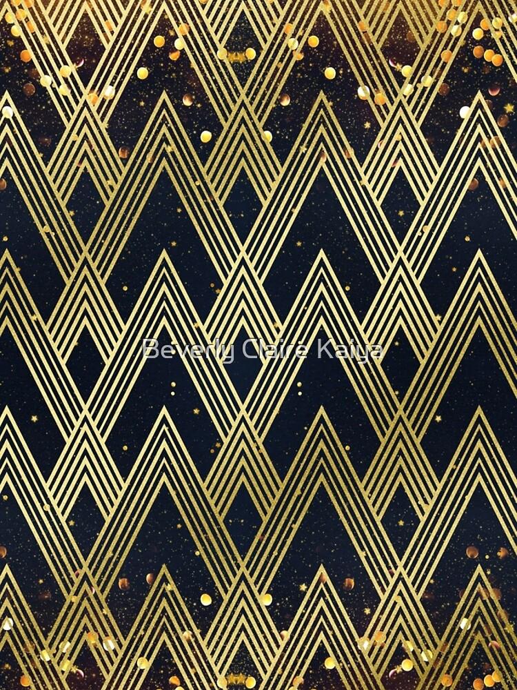 Art Deco 1920s Geometric Pattern Gold Glitter Stars by beverlyclaire