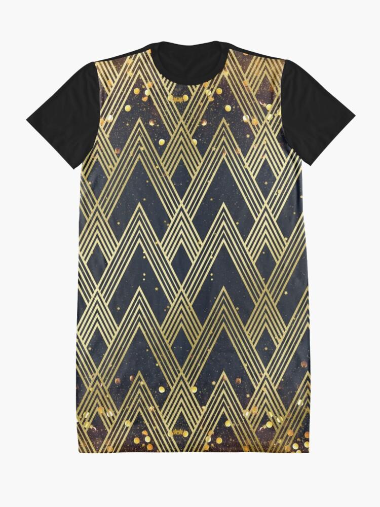 Alternate view of Art Deco 1920s Geometric Pattern Gold Glitter Stars Graphic T-Shirt Dress