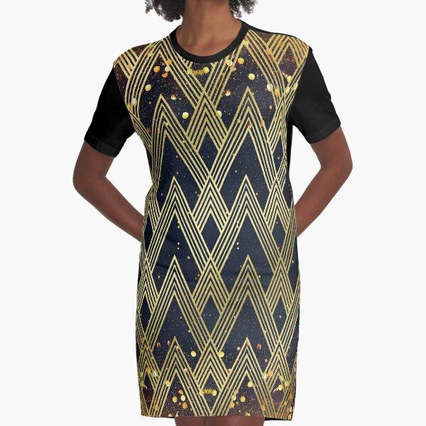 Art Deco 1920s Geometric Pattern Gold Glitter Stars Graphic T-Shirt Dress