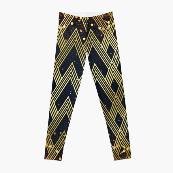 Art Deco 1920s Geometric Pattern Gold Glitter Stars Leggings