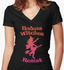 Badass Witches Resist Women's Fitted V-Neck T-Shirt