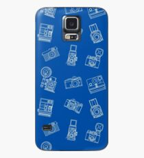 Vintage Cameras Pattern Blue Case/Skin for Samsung Galaxy