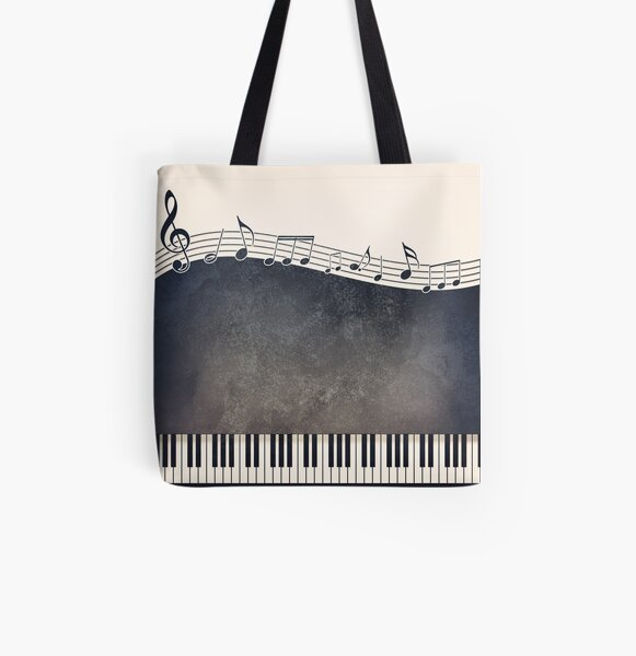 Piano All Over Print Tote Bag