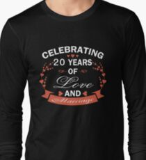 Best Gifts For 20 Years Wedding Anniversary. Amazing T-shirt For Couple Long Sleeve T-Shirt