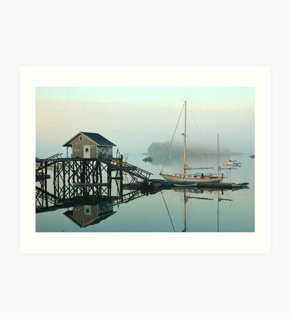Foggy morning and lobsterman's shack Art Print
